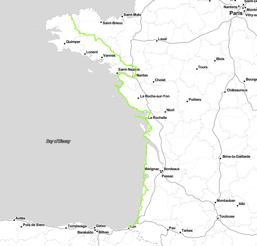 Carte du chemin que nous avons suivi le long de l'eurovélo 1