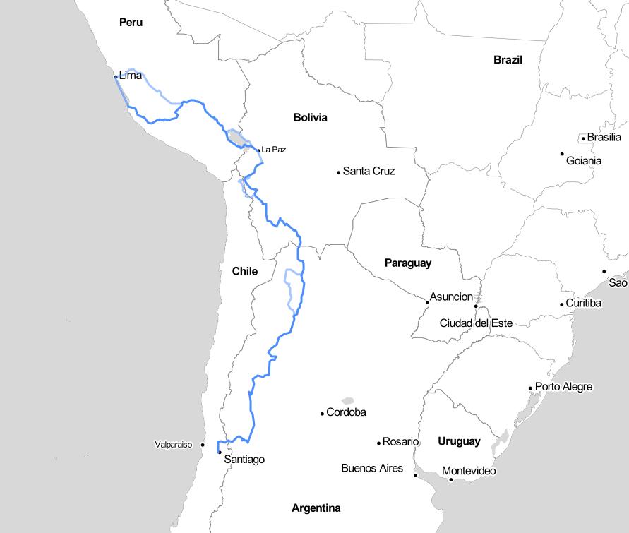 Première version de notre itinéraire en Amérique du Sud